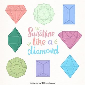 Set of hand-drawn precious stones