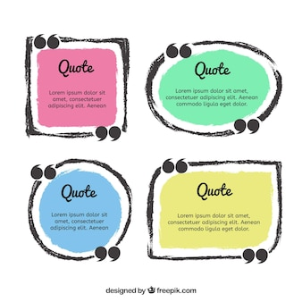 Set of hand drawn quotation frames