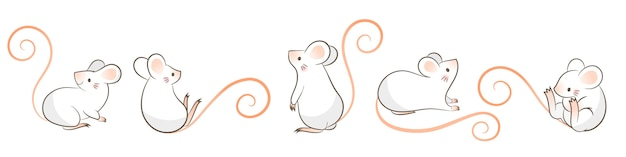 Set of hand drawn rats, mouse in different poses, cartoon doodley style.