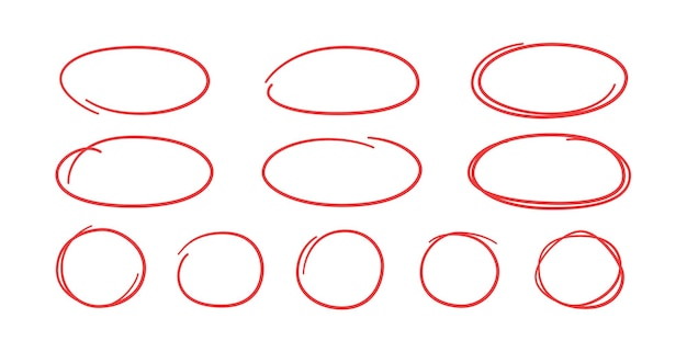 Set of hand drawn red circles and ovals. highlight circle frames