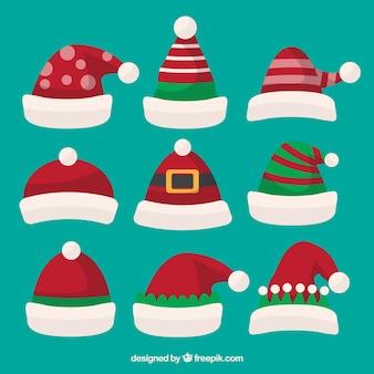 Set of hand drawn santa claus hats
