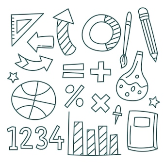 Set of hand drawn school infographic elements