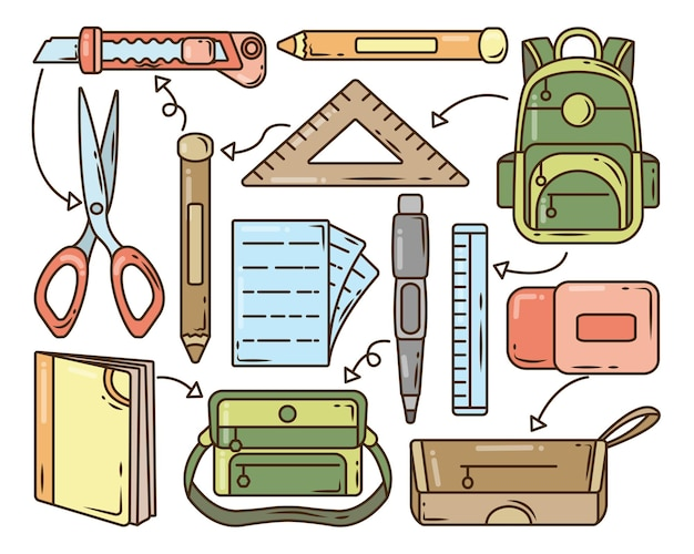 Set of hand drawn school items cartoon doodle collection