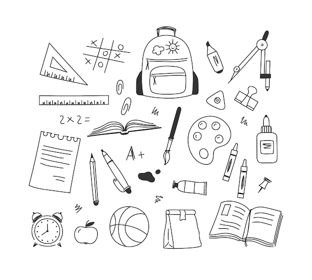 Set of hand-drawn school and student stationery objects.