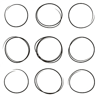 Set of the hand drawn scribble circles