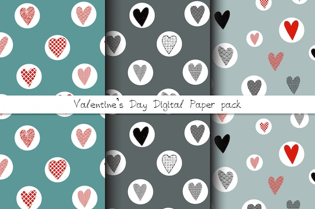 Set of hand drawn seamless patterns with doodle hearts