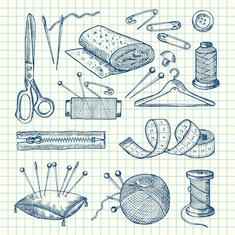Set of hand drawn sewing elements isolated on cell sheet illustration
