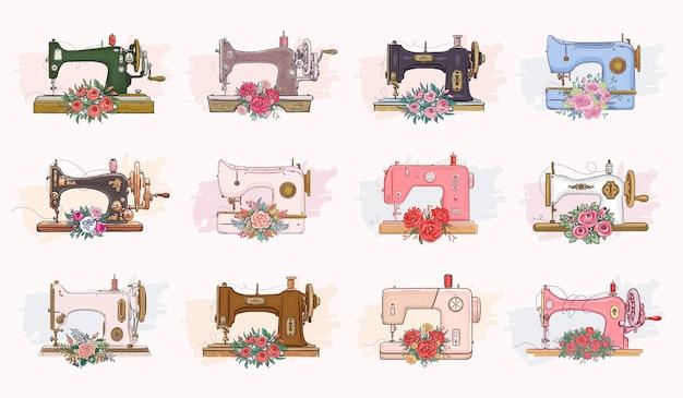 Set of hand drawn sewing machines