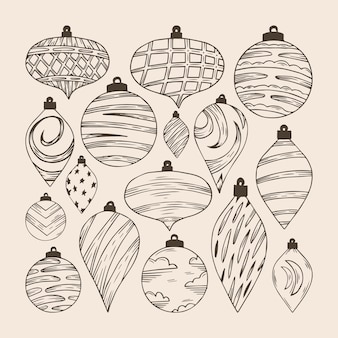 Set of hand drawn shatterproof christmas ball