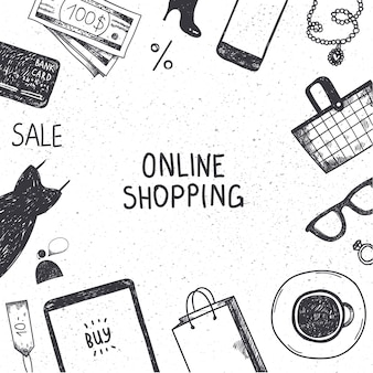 Set of hand drawn shopping online objects, illustration, icons. banner, poster, card black and white