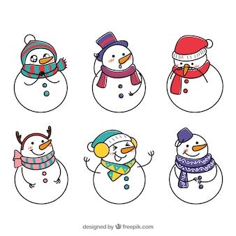 Set of hand drawn snowmen