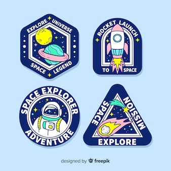Set of hand drawn space stickers