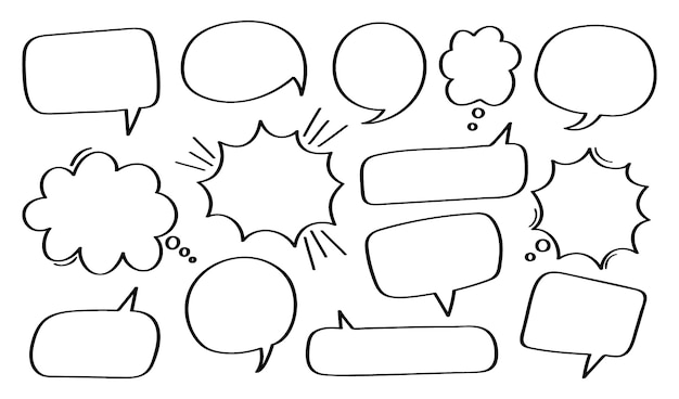 Set hand drawn speech bubble or chat bubble.