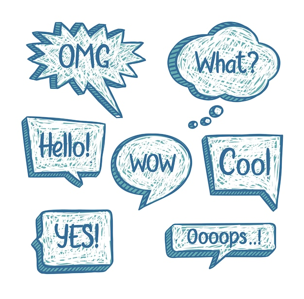 Set of hand drawn speech bubbles in doodle style with short phrases and scribble texture. talk clouds collection in sketchy style