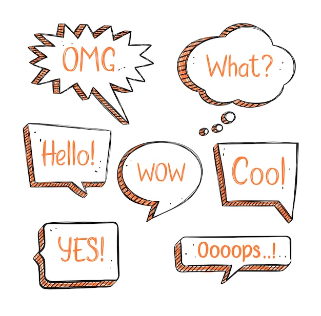 Set of hand drawn speech bubbles in doodle style with short phrases.