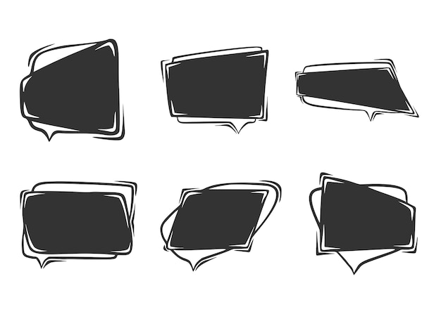 Set of hand drawn  of speech bubbles, isolated on white background.