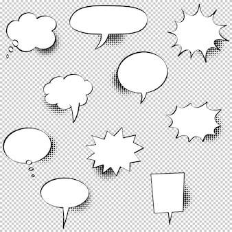 Set of hand drawn speech bubbles with halftone shadows. illustration.