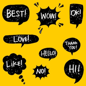 Set of hand drawn speech bubbles with text