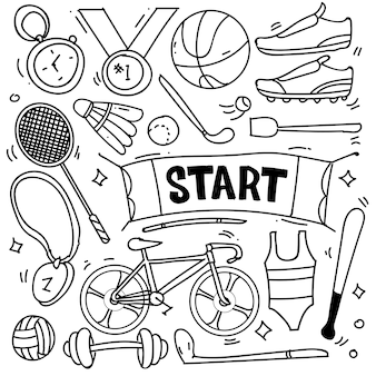 Set of hand drawn sport theme isolated on white background doodle set of sport theme