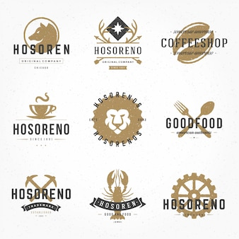 Set hand drawn style retro logos or badges vintage typographic elements