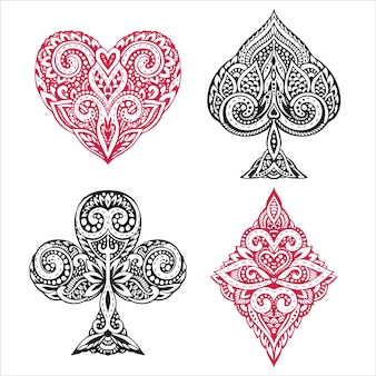 Set of hand drawn suit black and red playing card with decorative ornament.  objects on white background