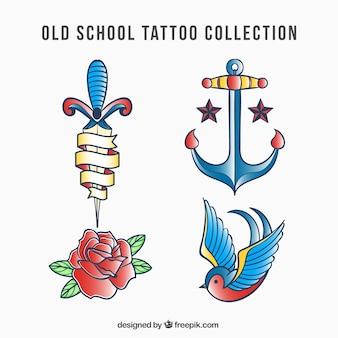 Set of hand drawn tattoos logos