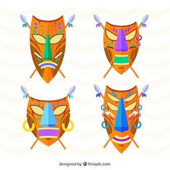 Set of hand drawn tiki masks