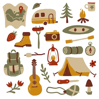 Set of hand drawn tourism and camping equipment.