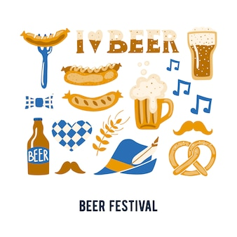 Set of hand drawn traditional beer festival attributes.