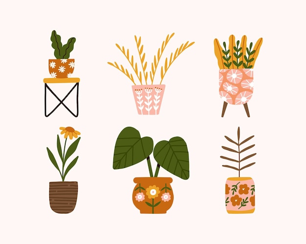 Set hand drawn trendy home decor with indoor hygge potted flowers plant illustration in scandinavian style