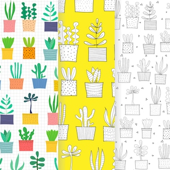 Set of hand drawn tropical cactus pattern background.