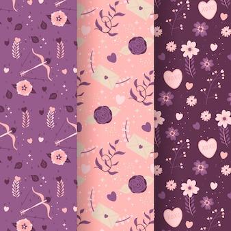 Set of hand drawn valentine's day pattern
