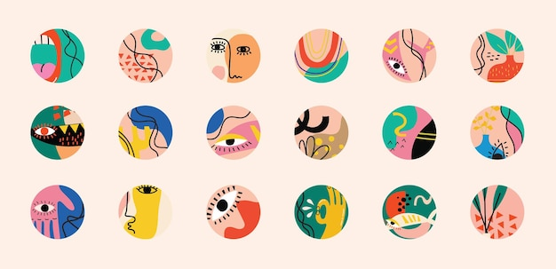 Set of hand drawn various vector highlight covers, abstract contemporary modern trendy vector illustration.