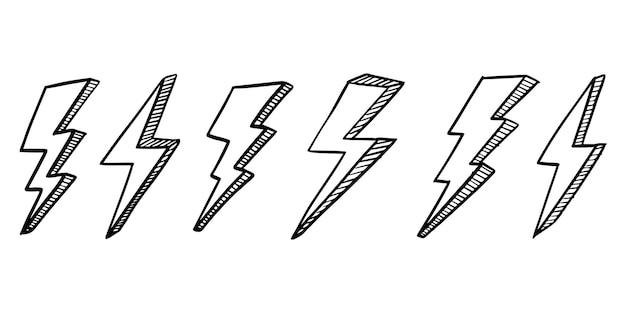 Set of hand drawn vector doodle electric lightning bolt symbol sketch illustrations.vector ilustration