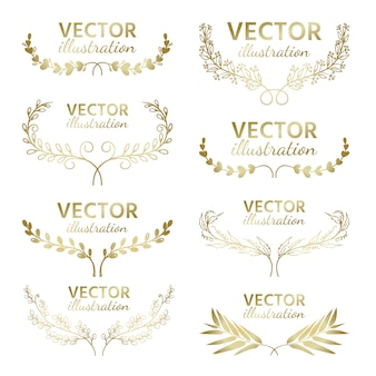 Set of hand drawn vector, gold branches with leaves and berries.