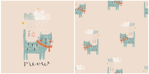 Set hand drawn vector illustration of cute cat and seamless pattern can be used for kids or baby