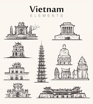 Set of hand-drawn vietnam buildings.