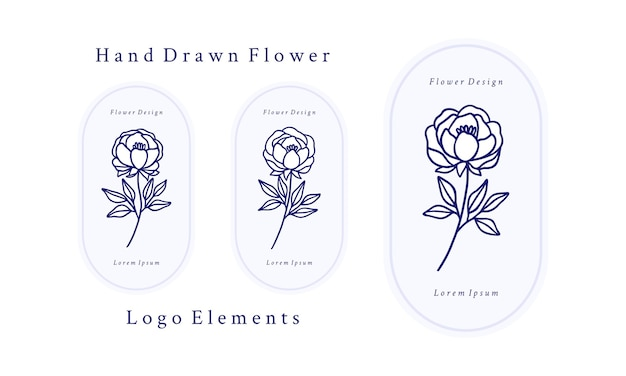 Set of hand drawn vintage botanical rose flower, peony and leaf branch elements for feminine logo and beauty brand