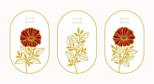 Set of hand drawn vintage gold botanical daisy gerbera flower
