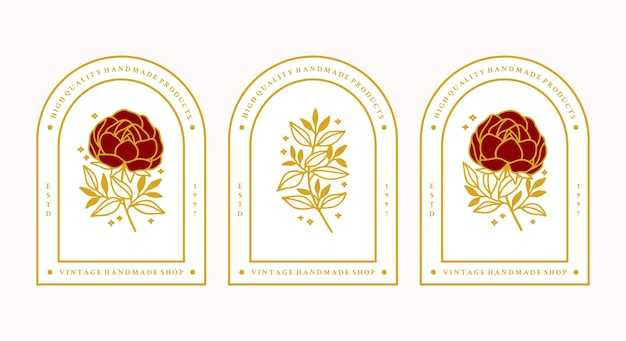 Set of hand drawn vintage gold botanical peony flower and leaf branch elements