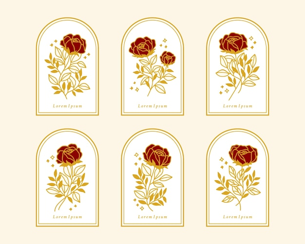 Set of hand drawn vintage gold botanical rose flower elements for feminine logo or beauty brand