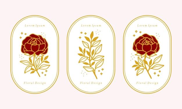 Set of hand drawn vintage gold botanical rose flower, peony, and leaf branch elements