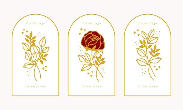 Set of hand drawn vintage gold botanical rose flower