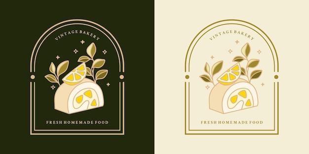 Set of hand drawn vintage lemon cakes and frame