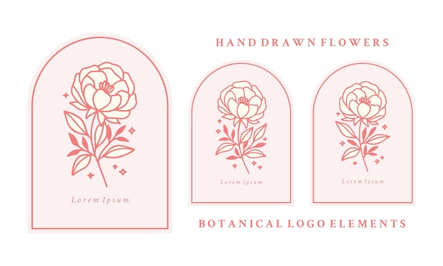 Set of hand drawn vintage pink botanical peony flower and leaf branch elements
