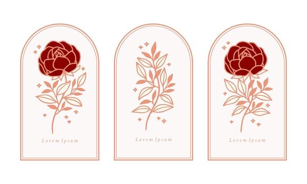 Set of hand drawn vintage pink botanical rose flower, peony, and leaf branch elements