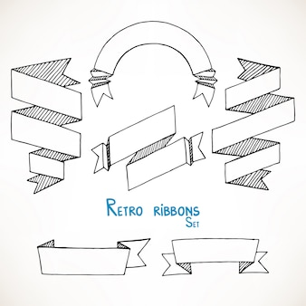 Set of hand drawn vintage sketch geometric ribbon banners