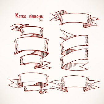 Set of hand drawn vintage sketch ribbon banners