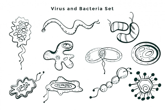 Set of hand drawn virus and bacteria germs