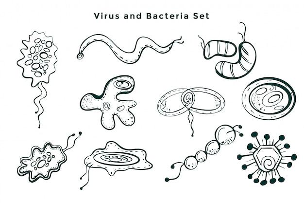 Insieme di germi di virus e batteri disegnati a mano